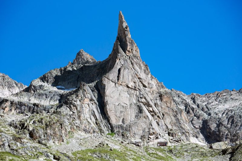 The Aiguille Dibona and Refuge Soreiller in the Ecrins National Park, France