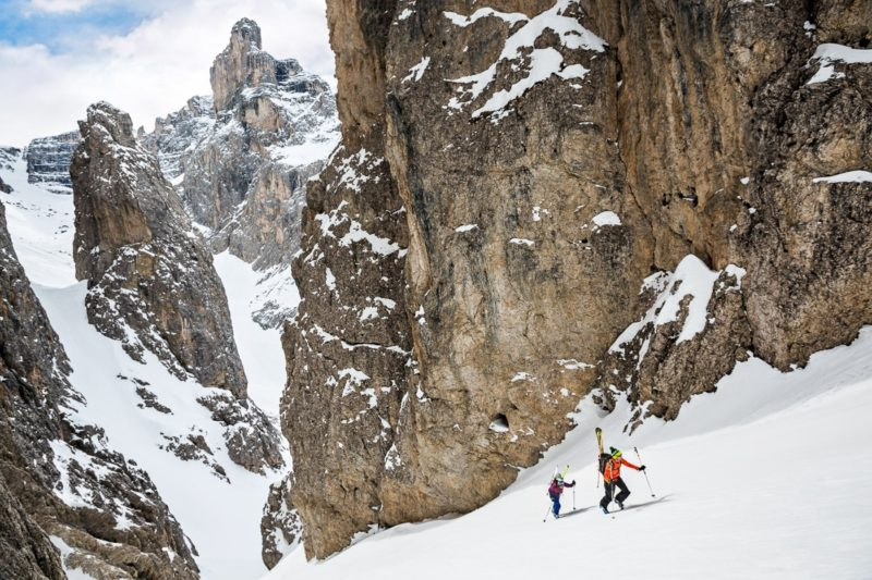 skiing dolomites couloirs