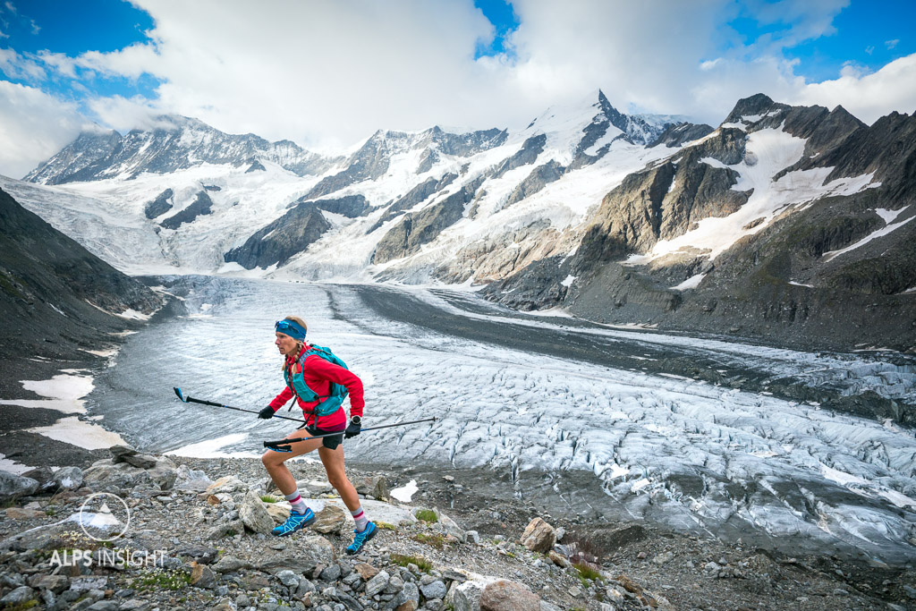 Trail running above Grindelwald, Switzerland