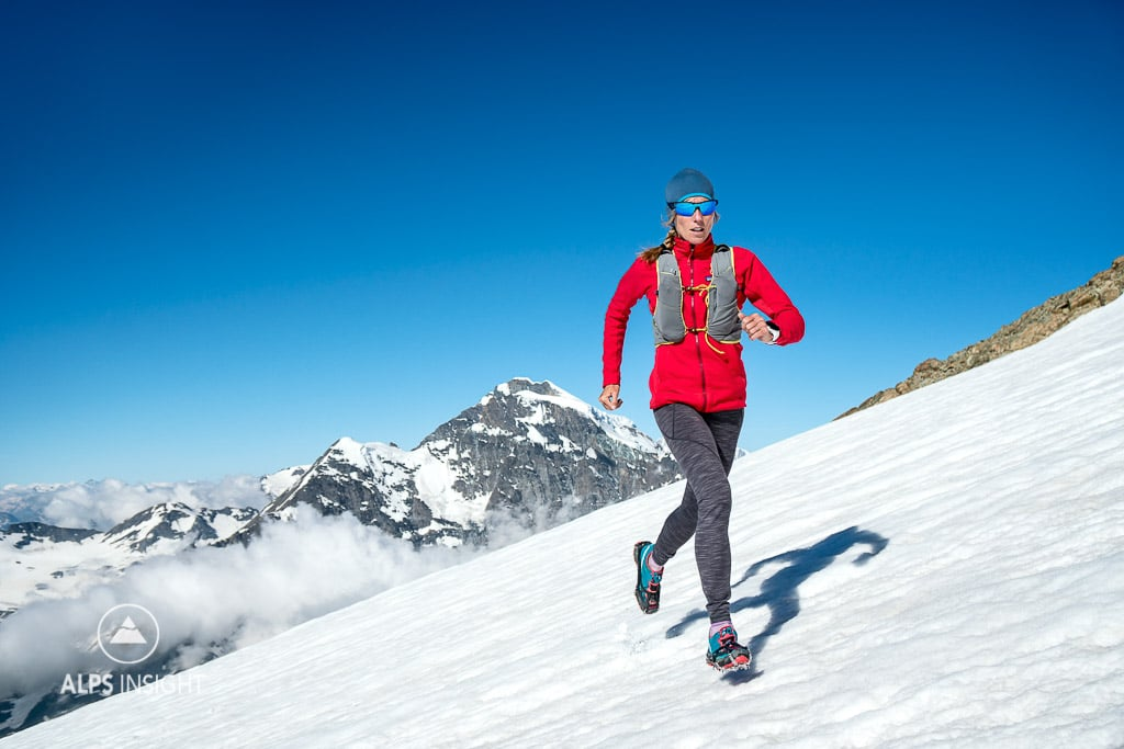 trail running on snow on La Ruinette, Switzerland