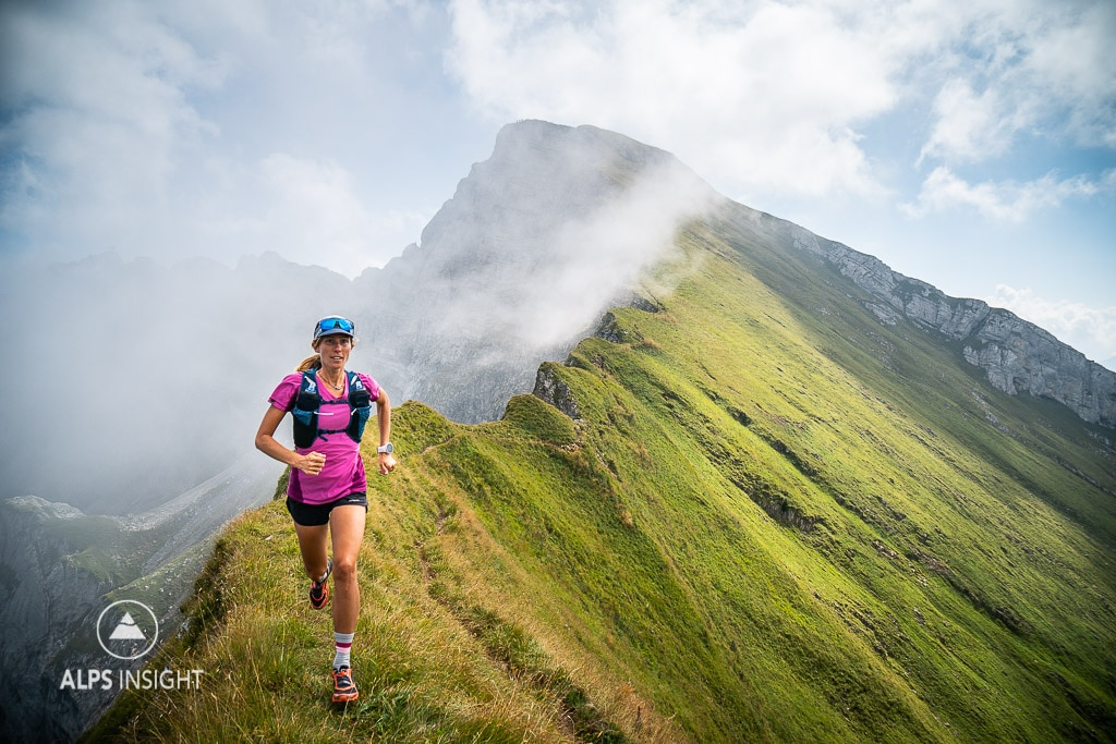Trail running on a sharp ridge line on Pilatus, a popular mountain above Luzern, Switzerland